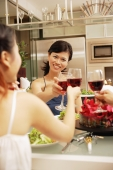 Friends toasting wine glasses across dinner table, over the shoulder view - Alex Microstock02