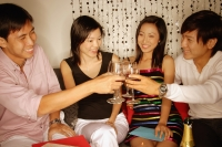 Couples sitting down raising wine glasses, toasting - Alex Microstock02