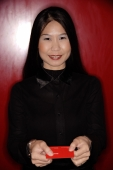 Woman holding business card. - Alex Microstock02
