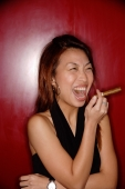 Woman with cigar, laughing. - Alex Microstock02