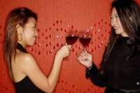 Two women, toasting with wine glasses - Alex Microstock02