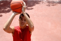 Man holding basketball, aiming - Alex Microstock02