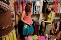 Two young women at clothes shop, shopping - Alex Microstock02