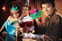 Couples with masks, holding drinks, looking at camera - Alex Microstock02