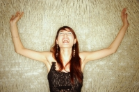 Young woman, arms outstretched, shouting - Alex Microstock02