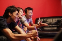 Young men holding beer bottles, watching TV - Alex Microstock02