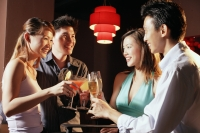 Couples holding drinks, toasting - Alex Microstock02