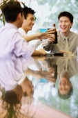 Young men raising drinks for a toast - Alex Microstock02