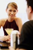 Woman facing man, drink in front of her - Alex Microstock02