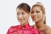 Two women in traditional costumes, looking away, portrait - Alex Microstock02