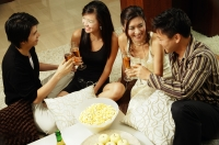Couples at home toasting with champagne - Alex Microstock02