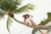 Couple sitting on coconut tree, looking away - Alex Microstock02