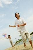 Couple flying kite along beach - Alex Microstock02