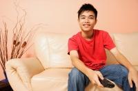 Teenage boy sitting on sofa, holding remote control - Alex Microstock02