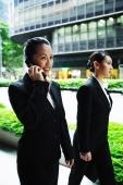 Business women walking side by side, one on the phone - Alex Microstock02