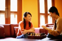 Young women sitting in living room, chess board on table between them - Alex Microstock02