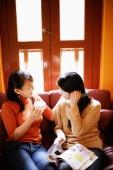 Young women sitting on sofa, talking - Alex Microstock02