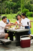 Family seated at picnic table - Alex Microstock02