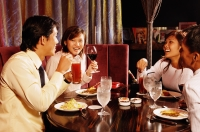 Couples at restaurant, eating - Alex Microstock02