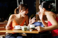 Young women at cafe, talking over coffee - Alex Microstock02