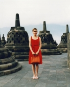 Eurasian model holding handbag at Borobudur temple - Martin Westlake