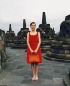 Eurasian model holding handbag at Borobudur temple - Martin Westlake