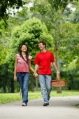 Couple holding hands and walking in park , man carrying picnic basket - Alex Microstock02