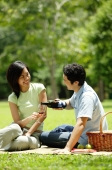 Couple having picnic in park, man pouring wine for woman - Alex Microstock02