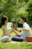 Couple in park, man pouring wine for woman - Alex Microstock02