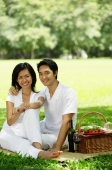 Couple sitting with picnic basket, smiling at camera - Alex Microstock02