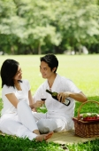 Couple sitting with picnic basket, smiling at each other, man pouring wine from bottle - Alex Microstock02