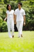 Couple walking hand in hand in park - Alex Microstock02