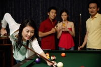 Woman playing snooker, people watching - Alex Microstock02