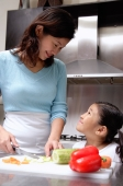Mother cutting vegetables, daughter looking up at mother - Alex Microstock02