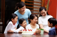 Family celebrating grandmothers birthday - Alex Microstock02
