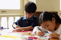 Children drawing with stencils - Alex Microstock02