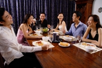 Adults at a dinner party, sitting around table - Alex Microstock02