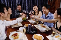 Adults at a dinner party, sitting around table, toasting - Alex Microstock02