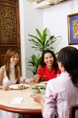 Three women having a conversation over a meal - Alex Microstock02