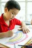 Boy holding colour pencil, drawing - Alex Microstock02