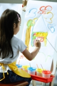 Young girl sitting in front of easel, painting - Alex Microstock02