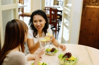 Women at a cafe, eating a salad lunch - Alex Microstock02