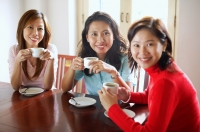 Women in cafe holding cups, smiling at camera - Alex Microstock02