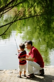 Father teaching son to hold fishing pole - Alex Microstock02