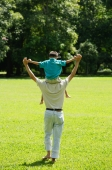 Father carrying son on shoulders, walking in field - Alex Microstock02