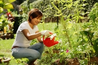 Woman watering plants in garden - Alex Microstock02