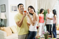Couple in living room, toasting with wine glasses, smiling at camera - Alex Microstock02