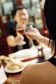 Couple toasting wine glasses across dining table, over the shoulder view, selective focus - Alex Microstock02