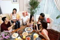 Adults sitting in living room, having a party - Alex Microstock02