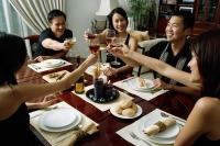 Adults toasting with wine glasses across dining table - Alex Microstock02